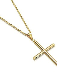 cheap -Rope Gold Chain Cross Pendant Necklace for Men, Women thin 14k Diamond cut w/real strong Solid Clasp. (22)