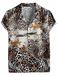 cheap -Men's Shirt Pattern Short Sleeve Party Tops Vacation Casual / Daily Beach Photo Color / Club