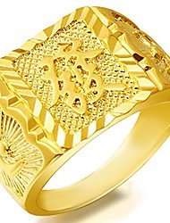 cheap -Stainless Steel Gold Plated Luxurious Chinese Character Style RICH WEALTH Ring (W)