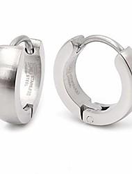 cheap -Pair Stainless Steel Silver Brush Hoop Earrings 3mm