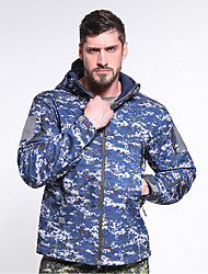 cheap -Men's Hiking Fleece Jacket Outdoor Thermal Warm Waterproof Windproof Wearproof Fall Winter Spring Camo Coat Top Polyester Camping / Hiking Hunting Fishing Forest Green Navy Camouflage Blue