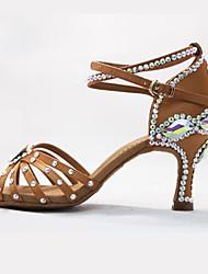cheap -Women's Modern Shoes Latin Salsa Dance Rhinestone Fashion Heel Rhinestone Sparkling Glitter Buckle High Heel Black Brown Cross Strap Teenager Adults' Glitter Crystal Sequined Jeweled Party Heels Sexy