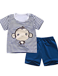 cheap -Kids Boys' Sleepwear T-shirt & Shorts Print Letter 2 Piece Print Blue Light Blue Active Basic