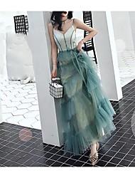 cheap -A-Line V Neck Floor Length Tulle Bridesmaid Dress with Sash / Ribbon / Bow(s)