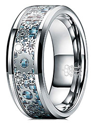 cheap -8mm tungsten rings silver punk seal gear mechanical light blue carbon fiber with metal foil inlay wedding bands for men size v 1/2