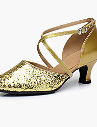 cheap -Women's Dance Shoes Latin Shoes Heel Thick Heel Black Red Gold Buckle Adults'
