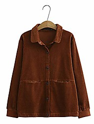 cheap -women autumn jackets women corduroy shirts loose coat oversize coats female streetwear outerwear-brown_xxxl_china