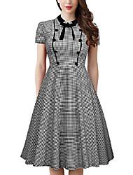 cheap -women's vintage 1940s plaid work party a-line dress - black -