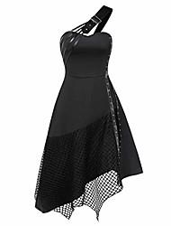 cheap -women halloween dress,women dress sleeveless gothic vintage solid color irregular stitching dress slanted shoulder special design victorian halloween retro black