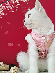 cheap -Dog Cat Coat cheongsam Dog clothes Flower Fashion Chinoiserie Cute Casual / Daily Spring Festival Winter Dog Clothes Puppy Clothes Dog Outfits Breathable Red Gold Costume for Girl and Boy Dog Coral