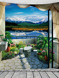 cheap -Window Landscape Wall Tapestry Art Decor Blanket Curtain Hanging Home Bedroom Living Room Decoration Balcony Garden Flowers Lake Mountain