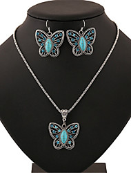 cheap -Women's Turquoise Jewelry Set Retro Butterfly Fashion Earrings Jewelry Silver For Anniversary Street Gift Festival 1 set