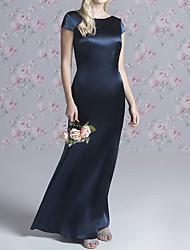 cheap -Sheath / Column Jewel Neck Floor Length Stretch Satin Bridesmaid Dress with