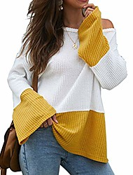 cheap -neartime women's knitted pullover flare sleeve crew neck striped color block casual loose sweater tops