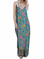 cheap -women's retro clothing summer cocktail flowers printed v-neck camisole colorful maxi dress boho summer wedding guest dresses goosun floral maxi dress green