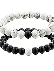 cheap -distance couple bracelet his and hers black matte agate & white stone 8mm beads bracelet