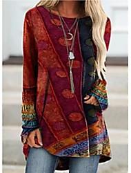 preiswerte -Damen T-Shirt Kleid Tunika T-Shirt Einfarbig Langarm Patchwork Druck Rundhalsausschnitt Oberteile Grundlegend Basic Top Blau Purpur Rote