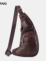 cheap -men genuine leather multi-pocket chest bag crossbody bag