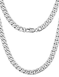 "cheap -9mm curb mens necklace silver chain cuban - stainless steel jewellery - neck link chains for men man women boys kids - 18"" 20"" 22"" 24"" - 8mm bracelet 7.5"" 8"" 8.5"" 9"" - flat 2mm thick"
