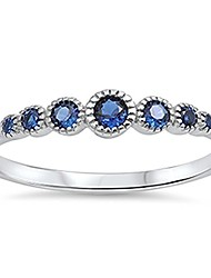 cheap -.925 sterling silver seven round simulated diamond & gemstone aaa cz band ring size 4-10 colors available