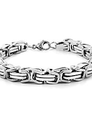 cheap -men's silver tone byzantine fashion bracelet plated stainless steel dresses up any style