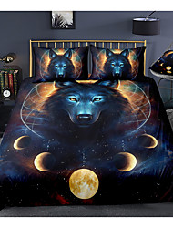 cheap -animal series wolf print 3-piece duvet cover set hotel bedding sets comforter cover with soft lightweight microfiber, include 1 duvet cover, 2 pillowcases for double/queen/king(1 pillowcase for