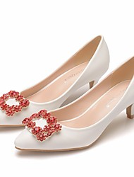 cheap -Women's Wedding Shoes Pumps Pointed Toe Wedding Flats Business Sexy Minimalism Wedding Party & Evening PU Rhinestone Sparkling Glitter Button Solid Colored White Red
