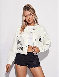 cheap -Women's Single Breasted Denim Jacket Regular Fruit Daily Basic Cherry White XS S M L
