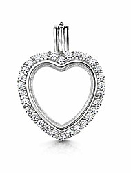 cheap -Silver - Tree of Life Engraved - Heart Shape Pendant - Opening Locket for Women - For Birthstone Charm or Photo