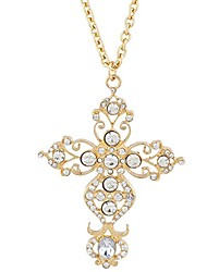cheap -black tone faux rhinestone filigree cross pendant necklace