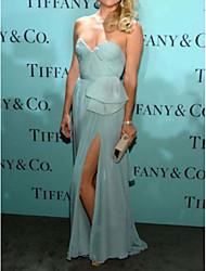 cheap -Sheath / Column Celebrity Style Elegant Prom Formal Evening Dress Sweetheart Neckline Sleeveless Sweep / Brush Train Chiffon with Split 2021