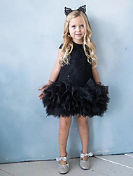 cheap -Princess / Ball Gown Knee Length Wedding / Party Flower Girl Dresses - Lace / Tulle Short Sleeve Jewel Neck with Appliques / Solid / Paillette