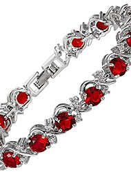 cheap -blossom tennis bracelet [18cm/7inch] with round cut gemstones cz [red ruby] in 18k white gold plated, simple modern elegance