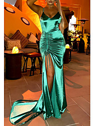cheap -Mermaid / Trumpet Beautiful Back Sexy Wedding Guest Formal Evening Dress Spaghetti Strap Sleeveless Court Train Charmeuse with Ruched Split 2021