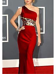 cheap -Mermaid / Trumpet Celebrity Style Elegant Wedding Guest Formal Evening Dress One Shoulder Sleeveless Floor Length Satin with Sash / Ribbon 2021