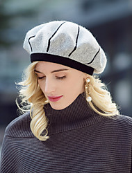 cheap -Headwear Casual / Daily Acrylic / Cotton / Rabbit Hair Hats with Stripe / Color Block 1pc Casual / Daily Wear Headpiece