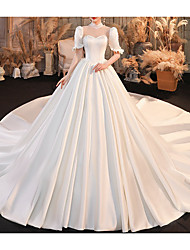 cheap -Ball Gown Wedding Dresses High Neck Chapel Train Satin Half Sleeve Formal with Lace Pleats Beading 2020