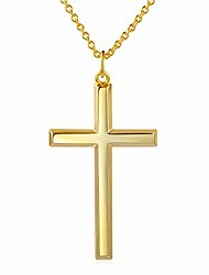 cheap -Men Cross Chain Silver Men Cross Necklace 14k Yellow Gold Plated Cross Pendant Necklace for Men Women,Chain 24 inches