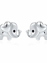 cheap -silver elephant earrings for girls-hypoallergenic stud earrings kids cute elephants jewellery mothers day birthday gifts for women