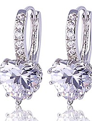 cheap -Valentine Gift Silver Huggie Hoop Earrings White Love Heart Stone Clear Zirconia