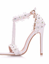 cheap -Women's Sandals Pumps Open Toe High Heel Sandals Vintage Sexy Minimalism Wedding Party & Evening Lace PU Pearl Buckle Tassel Solid Colored Color Block White Purple Yellow