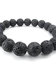 cheap -12mm lava rock mens bracelet, natural energy stone gemstone beads, black