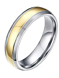 cheap -Jewellery Mens Simple Style 18k Gold Plated Titanium Rings Size P 1/2