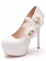 cheap -Women's Wedding Shoes Platform Round Toe Wedding Pumps Vintage Sexy Roman Shoes Wedding Party & Evening PU Satin Flower Sparkling Glitter Lace Solid Colored Color Block White