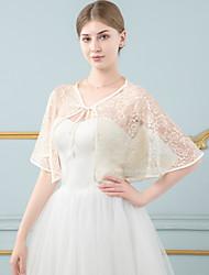 cheap -Sleeveless Shawls / Bridal Chiffon Wedding / Party / Evening Shawl & Wrap / Women's Wrap With Lace / Pattern