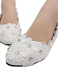 cheap -Women's Wedding Shoes Flat Heel Round Toe Wedding Flats Wedding Walking Shoes PU Rhinestone Lace Floral Flat bottom [2020 version standard code] 3 cm heel [standard size] 5 cm heel [standard size]