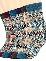 cheap -6 Pairs Womens Casual Socks,  Winter Soft Vintage Style Knitting Wool Warm Winter Crew Socks