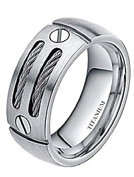 cheap -8mm Men's Flat Silver/Black Titanium Ring Wedding Band with Stainless Steel Cables and Screw Design Comfort Fit Size 6-14 (14)