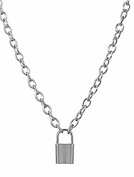 cheap -fashion women padlock pendant necklace, stainless steel chain necklace for women and men vintage jewelry unique accessories come with gift box (style a)