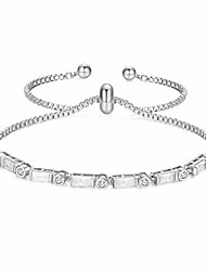 cheap -Gold Plated Adjustable Bracelet for women Bolo Tennis Bracelet with Sparkling White Cubic Zirconia Stone Slide Clasp Mother's Strand Bracelet from Daughter Gift Anniversary Birthday Christmas Jewelry